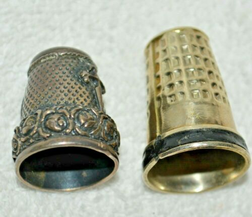 Vintage Sterling Silver and Onyx Thimbles Seashell Roses  Cross