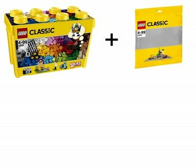 LEGO Classic 2er Set 10698 + 10701 Große Bausteine-Box + graue Grundplatte