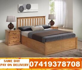 WOODEN STORAGE DOUBLE Bed Available With Mattress