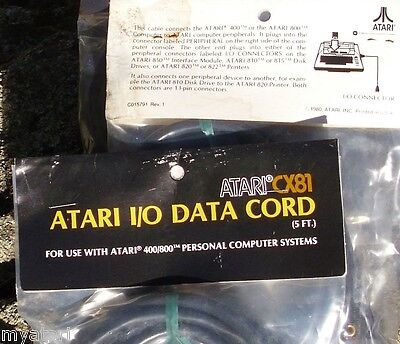 Atari CX-81 Long 5 Ft SIO Cable 8-bit New Damaged package 800/XL/XE/810/1050
