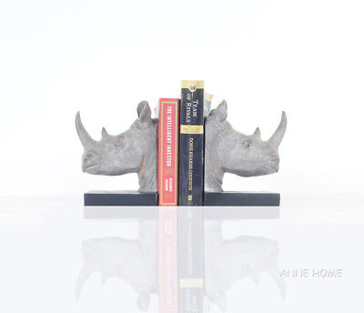 Rhinoceros Head Bookends Figurine Sculpture Statue 8
