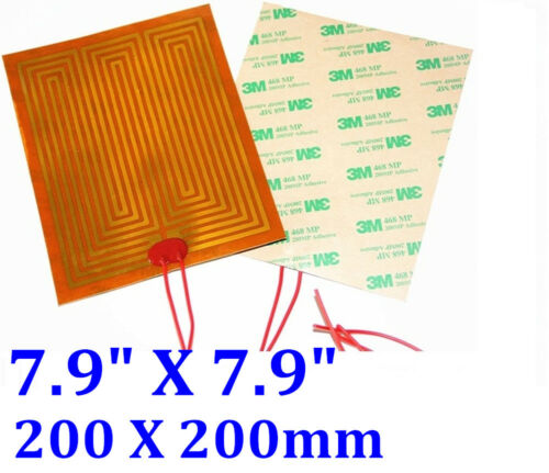 "7.9"" X 7.9"" 200 X 200mm 10W w/ 3M tape 30mm for wires JSRGO CE UL Kapton Heater"