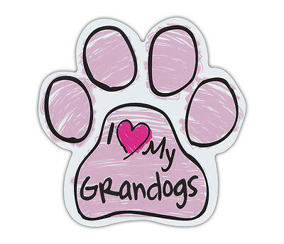 Pink Scribble Paws: I LOVE MY GRANDOGS GRAND DOGS | Dog Paw Shaped Car Magnets