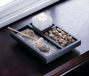 Mini Office DESK Zen Sand Rake Rock Meditation Garden Kit Candle Holder  Gift Set