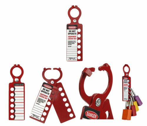 Red Brady Emedco 2-in-1 Do Not Operate Lock Out Hasp w/ padlock ID System