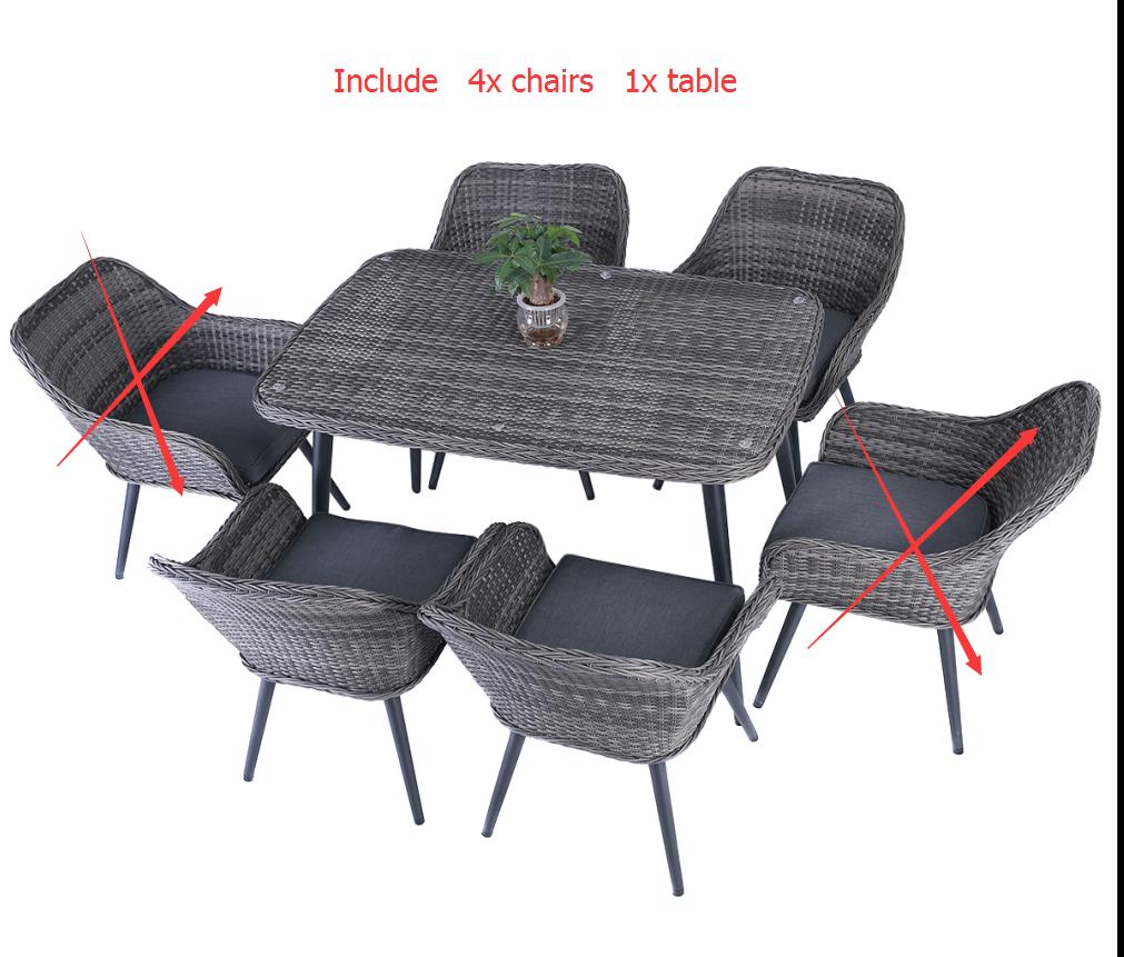 Garden Furniture - 5PC Patio Rattan Wicker Table Chairs Sofa Dining Garden Set Furniture Outdoor