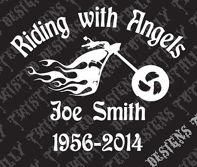 in memory of riding with angels vinyl decal car truck motorcycle harley -