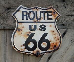 ROUTE 66 US ROAD HIGHWAY SHIELD RUST BULLET HOLES TIN METAL BAR SIGN WALL DECOR