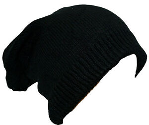 Black Slouch Beanie Knitted Oversized Adults Boys Ladies Girls Hat Cap Ribbed