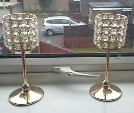 X2 crystal gold candle holders