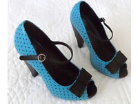 t.u.k. polkadot shoes in turquoise VGC