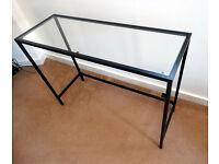 Laptop table, black-brown, glass, Ikea