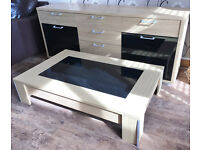 Light Oak effect large sideboard/dresser with black glass doors on front & matching low coffee table