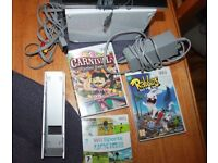nintendo wii console plus games wii carnival funfair,wii sports,wii rabbids go home