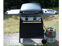 Sahara 2 Burner Plus LPG Gas Barbecue with Side Burner, Half-full 5kg Gas Cylinder and Rain Cover.