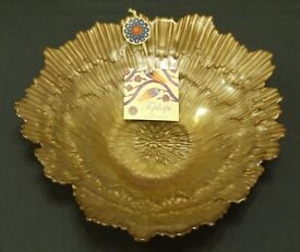 TOPKAPI COLLECTION BRONZE / GOLD BOWL HAND DECORATED GLASS - MADE IN TURKEY - NEW