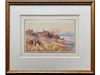 JAMES WILLIAM BOOTH 1867-1953, COTTAGES IN LAKELAND LANDSCAPE SIGNED WATERCOLOUR