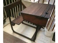 Vintage wooden and metal school desk