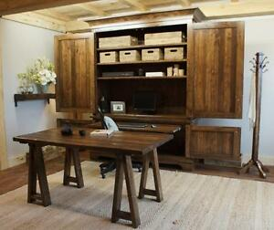 Reclaimed Wood Office Suite Armoire $4295 and More! By LIKEN Woodworks
