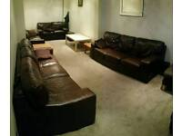 Housing Units Leather Sofas Dark Brown Chocolate 2 x 3 seater and 2 x 2 seaters