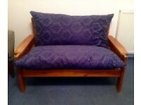 2 & 3 seater settees pine frame with blue cushions