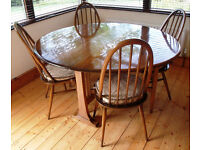 Vintage 1980s Ercol Windsor Golden Dawn solid h/wood ash? oval g/leg table/4 Quaker chairs/cushions.
