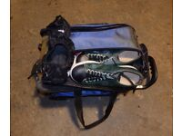 Double tenpin bowling ball trolley case, 2 balls, pair of leather shoes