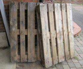 2 old wooden PALLETS £3