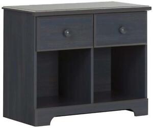 NEW South Shore Furniture Summer Breeze 2-Drawer Double Nightstand, Blueberry