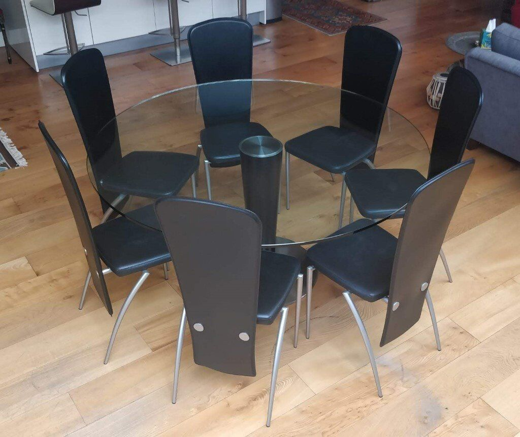 Remarkable Designer Glass Table With Black Leather Chairs In Shepherds Bush London Gumtree Interior Design Ideas Gentotryabchikinfo