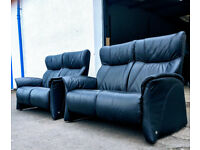 Himolla Lune black leather reclilner 2 seater sofas DELIVERY AVAILALBE