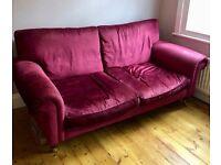 Classic LAURA ASHLEY Kingston Sofa Cranberry Villandry Velvet Fabric
