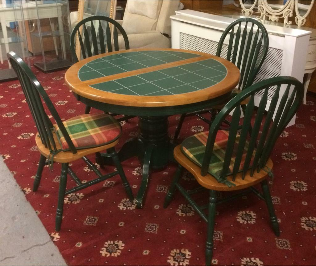 Stunning Extendable Green Tile Top Dining Table And Chairs