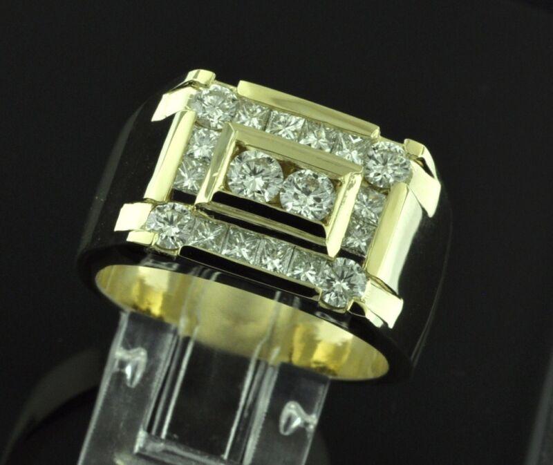 2.02 Ct 14k Solid White Gold Mens Natural Diamond Ring Princess Cut 19.0 Gram