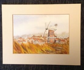 Cockley Cley Windmill. Water colour painting.