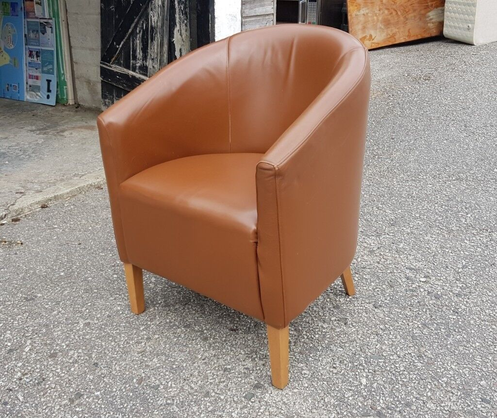Brown Tub Chairs - Faux Leather (x8)   in Marazion, Cornwall   Gumtree