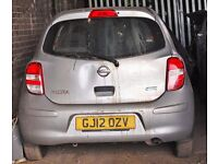 Nissan Micra, Silver colour, 2012 year, Breaking and selling for parts for sale
