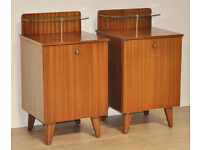 Pair Of Two 2 Retro Lebus Teak Vintage Small Bedside Cabinets With Glass Shelves