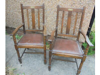 Pair of Oak Carver Chairs - Presented in 1930 - £60 the pair