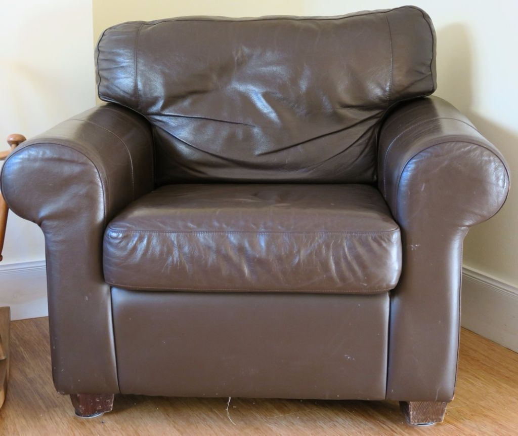 Ikea leather armchair - Ikea Ektorp Brown Leather Armchair