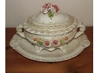 Vintage Italian Ceramic Tureen and Base by Bassano holds 3 ltrs.