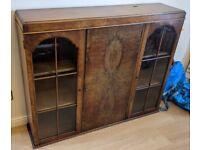 1920/30's Sideboard Solid Dark Wood Display Cabinet