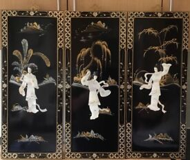 Set of Three Geisha Wall Hangings, black lacquer, mother of pearl, will separate, perfect condition.