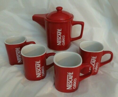 NESCAFE CLASICO RED COFFEE POT & MUGS SET (6 PCS.)
