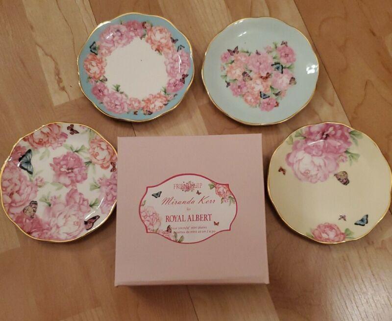 "Royal Albert Miranda Kerr Friendship Set of 4 Mini Plates 4"" Flowers Butterflies"
