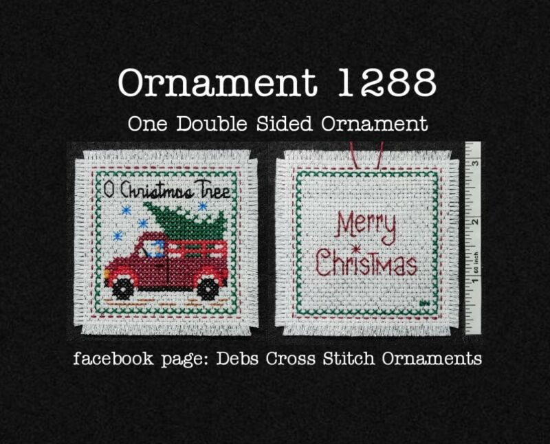 1288 Old Red Truck Tree Christmas Finished Cross Stitch Ornament Completed