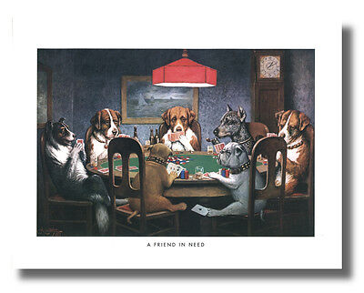 Dogs Play Poker #1 A Friend In Need 16x20 Coolidge Wall Art Print Picture