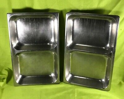 Unbranded Stainless Steel Divided Full Size Steam Table Pans 2.5 Deep Lot Of 2