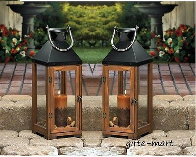 "2 large brown wood & metal 20"" tall Candle holder Lantern light terrace outdoor"