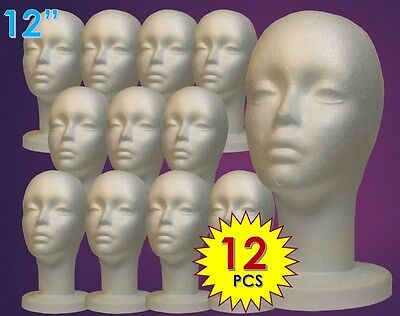 "WIG FEMALE STYROFOAM HEAD FOAM MANNEQUIN DISPLAY 12"" (12PCS)"